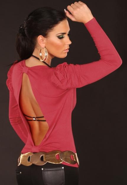 sexy pulli r ckenfrei mit puff rmeln bluse pullover gr 34 36 38 10063 ebay. Black Bedroom Furniture Sets. Home Design Ideas